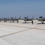 Acht F-35-testtoestellen op de luchtmachtbasis Eglin in Florida.